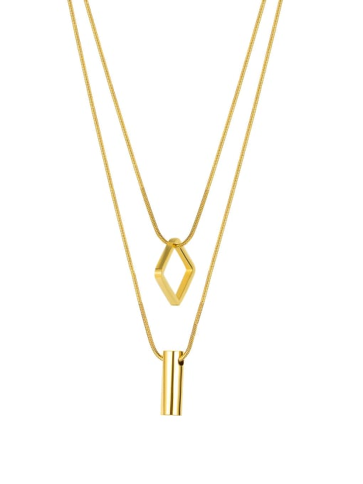 2019 [steel necklace] Titanium Steel Geometric Minimalist Multi Strand Necklace